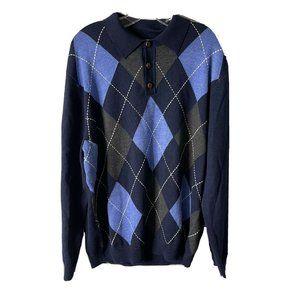 Turnbury XL mens 100% merino wool Blue sweater but
